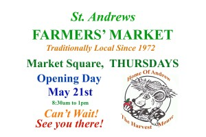 Stroll Through Downtown Market Square Opening Day of the St. Andrews Farmers' Market, Thursday, May 21st, 8:30am to 1pm!  Fun for the Whole Family!